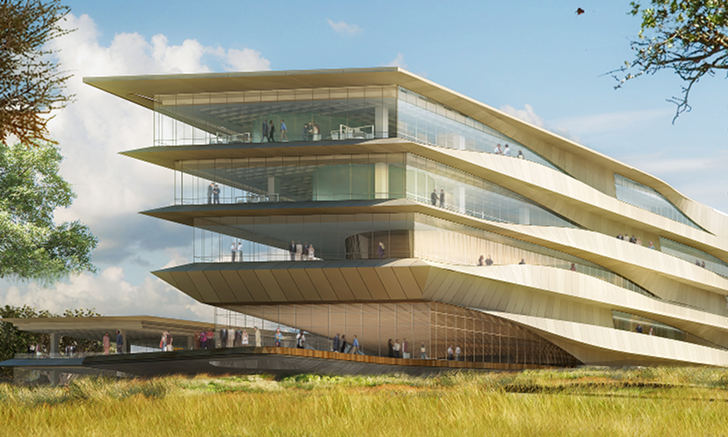 Green roofed botswana innovatin hub by shop architects for Architecture high tech