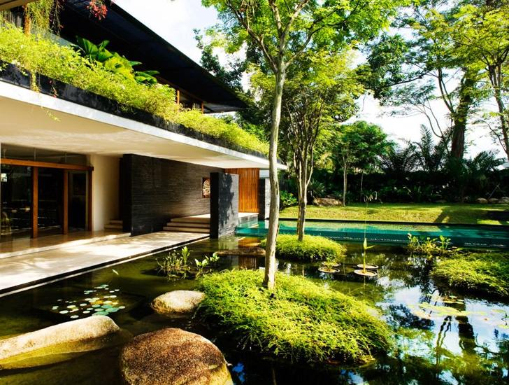 green home design. Architecture Green Roofed Cluny House Showcases Low Energy Luxury In Singapore