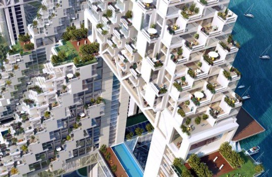 Golden Dream Bay, pixelated, residential development, moshe safdie, Qinhuangdao, china, green roof