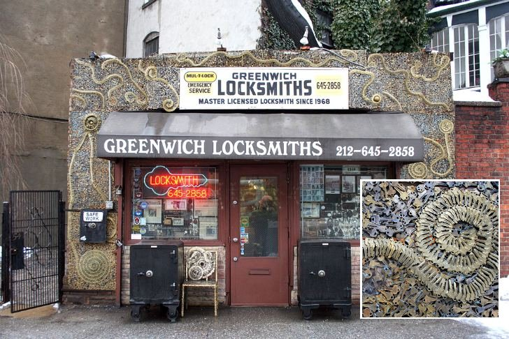Greenwich Locksmiths Renovates Shop Facade With Thousands Of Keys ...