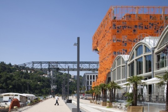 le cube orange, jakob + macfarlane, lyon, france, energy efficient building, perforated facade,