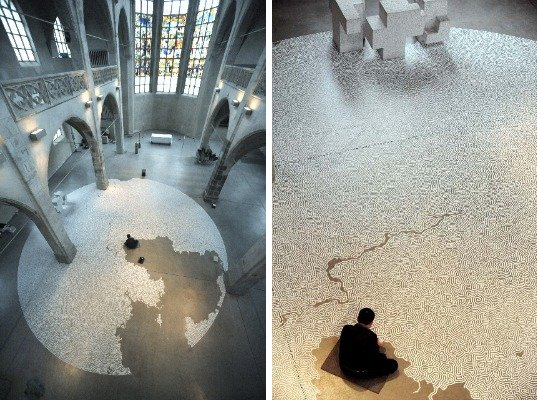 Motoi Yamamoto, Labyrinths, maze, salt sculpture, eco art, salt maze, green design