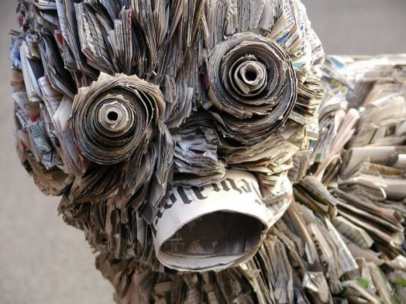 Nick Georgiou Creates Edvard Munchs Scream Out Of Recycled - Japanese artist tightly rolls newspapers to craft incredibly accurate animal sculptures