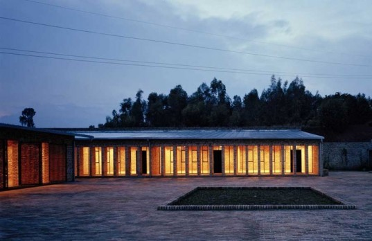 African green building, local building materials, adobe brick,rainwater catchment, reed doors, Rwanda school, eco school, african green school, green building