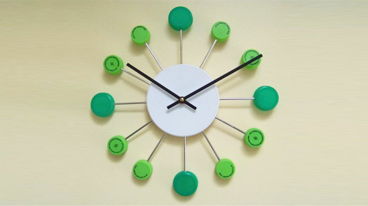 bottle cap clock, recycled clock, green clock, eco clock, green products, recycled materials, reaction gifts, c
