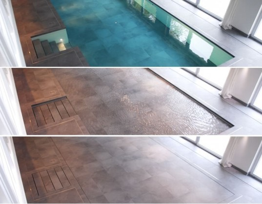 green pool, hydropool, sustainable pool, transforming pool, transforming room, eco pool, disappearing pool, energy saving pool, hydro floor, adjustable floor, adjustable poo