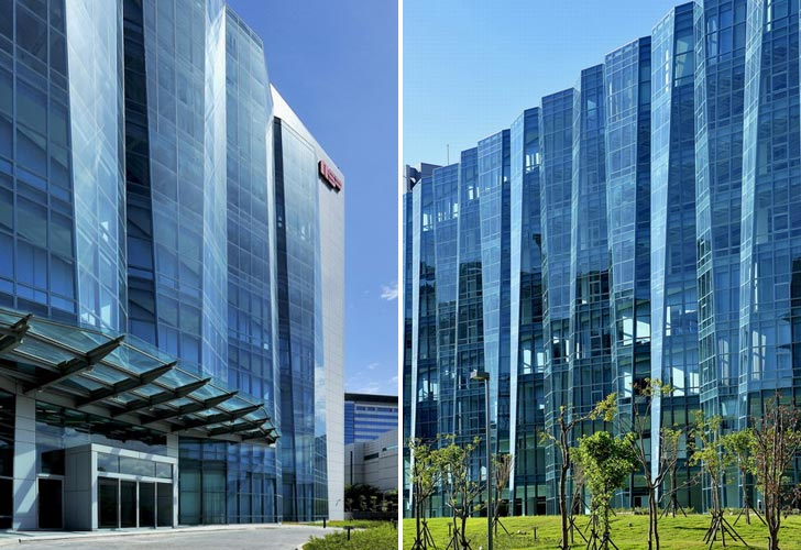 Folding glass facade for neo solar power corp Folding facade