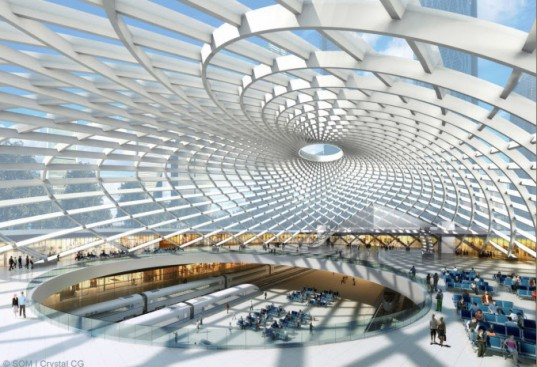 SOM, Tianjin, tianin High Speed Rail Station, high speed rail, green transportation, tianjin station, green design, eco design, sustainable design, green architecture, sustainable architecture, skidmore owings and merrill, tianjin architecture, green building