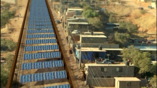 border burrito stand,Social design, Ronald Rael, Rael San Fratello Architects,desert water catchment, water treatment plant, border security, US border fence costs, tax desert solar array, US mexico border fence, green border, border crossing, solar thermal, solar electric field,