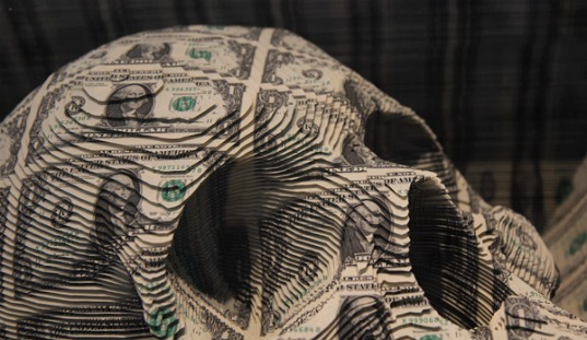 art, money, Los Angeles, tattoo art, skull, green, greenback, is this green, scott campbell, los angeles, oh wow gallery