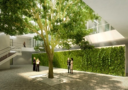 City Green Court, richard meier & partners, daylighting, atrium, living wall, leed, prague