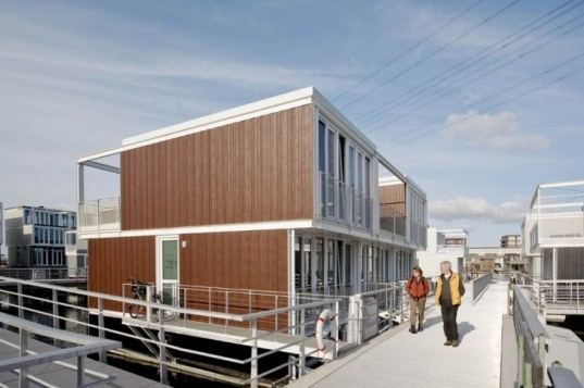 panelized home, modern house boat, floating neighborhood, Netherlands green building, Marlies Rohmer, Dutch green homes, houseboats niehgborhood, floating homes, prefab house, eco neighborhood,green neighborhood, adaptive home design