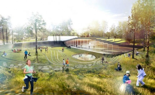 Ice Hockey Rink, Umea, Sweden, green roof, park, BIG, green design, sustainable architecture