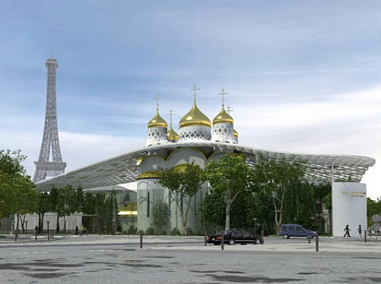 green roof, green spaces, photovoltaic panels, Russian Orthodox Church, Paris, Eiffel Tower, Sade Sarl, Arch-Group Architects, passive design, River Seine, green terraces, cultural center