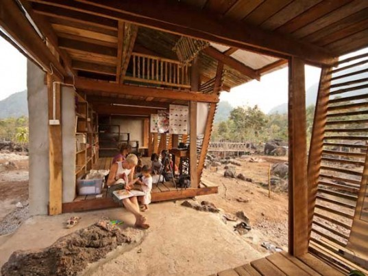 bamboo architecture, tyin tegnestue, Norwegian University of Science and Technology, Safe Haven Orphanage, eco library, bath house, thai orphanage, thai architecture, locally sourced materials, outdoor toilet, teak wood