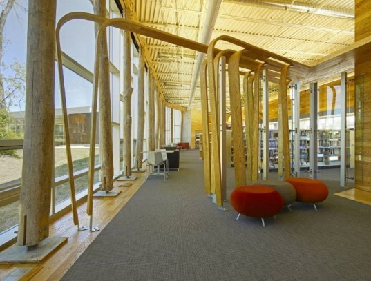 Ann Arbor Traverswood Library, ash tree interior, Ash tree milling, eco library, Green Building, green design, green materials library, green public design, inform studio, Michigan green building, local lumber design, eco materials, on site building materials