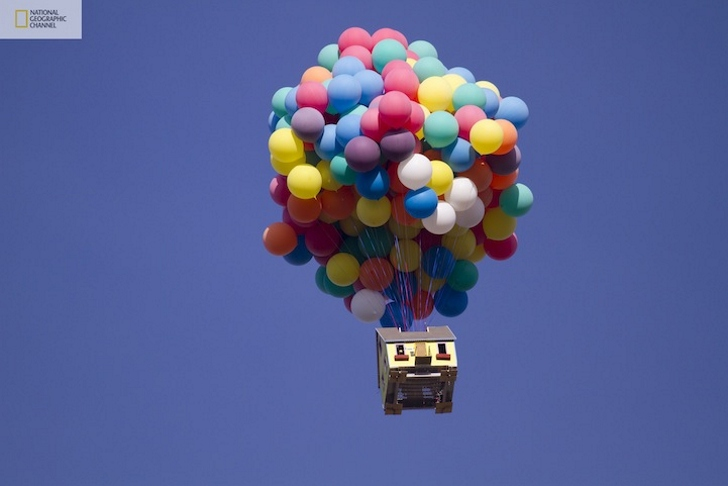 Real Life Version of the UP House Attached to 300 Balloons Takes Flight