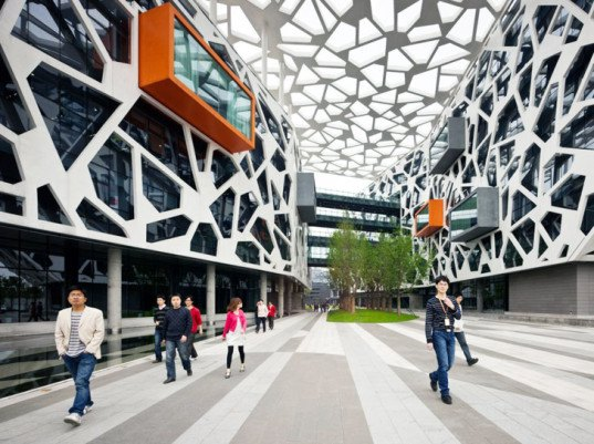 Alibaba Headquarters Wrapped In A Spiderweb Like Solar Shade