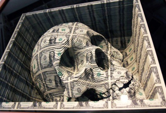 art, money, Los Angeles, tattoo art, skull, green, greenback, is this green, scott campbell, los angeles, oh wow galler