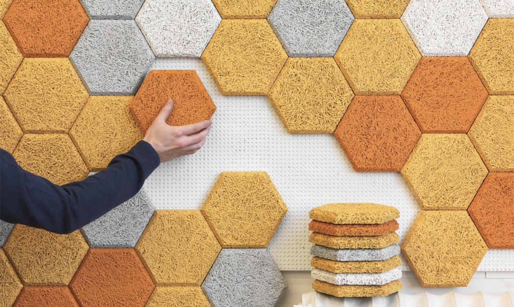 These colorful hexagonal wall tiles are made from sound-absorbing ...