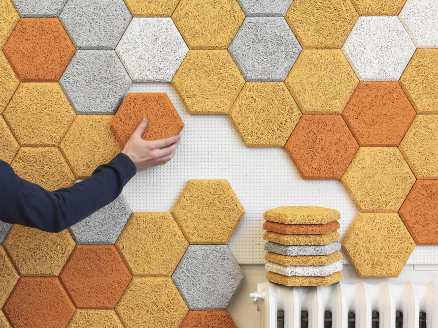 These colorful hexagonal wall tiles are made from sound-absorbing