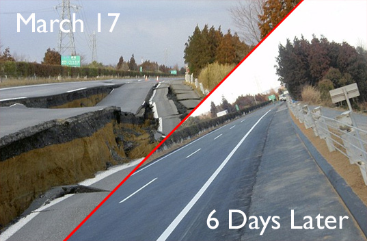 japan earthquake, japanese highway destruction, japanese highway repair, japanese highway demolished, japanese highway repaired in 6 days
