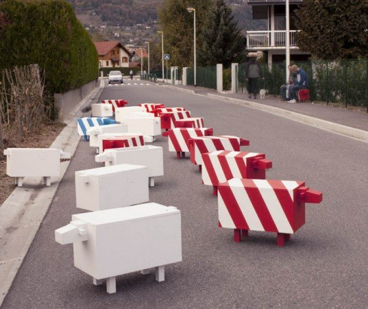 traffic sheep, Christophe Machet, multifunctional benches, sheep benches, street barricades, sheep barricades