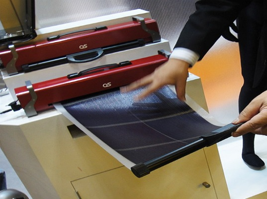 solar cells, amorphous solar cells, solar energy, emergency situations, retractable technology, solar power, communication technology, Japan, limited grid access, communication equipment