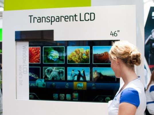 LCD, TV, Cebit, Sebit, Tradeshow, 2011, Transparent, OLED, Technology, Solar power, sustainable design, green design, greener gadgets, green electronics, photovoltaic tv, net zero tv