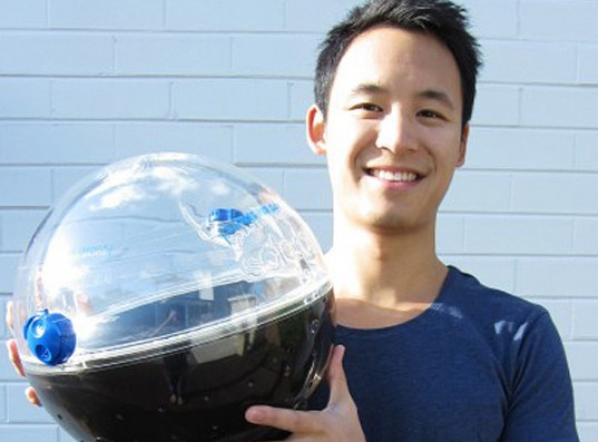 Jonathan Liow, Solarball, Milan International Design Fair, Australian Design Award, James Dyson Award, Hamster ball, Water purification system, Drinking water, cambodia,