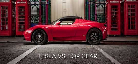 Tesla, Tesla Roadster, Top Gear, electric vehicle, EV, battery, BBC, libel, malicious falsehood, law suit,