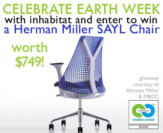 earth Day, Earth Week, MBDC, Cradle to Cradle certified, Cradle to Cradle philosophy, Cradle to Cradle, William McDonough, giveaways, free stuff, win this, green giveaways, earth day giveaways, earth week giveaways, earth day prizes, earth week prizes, earth month, herman miller, sayl task chair, yves behar, herman miller chairs