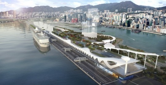 Foster + Partner, public park roof, Green building hong Kong, rain catchment,Kai Tak Cruise Terminal, green cruise terminal,international cruise terminal, Hong Kong cruise terminal,