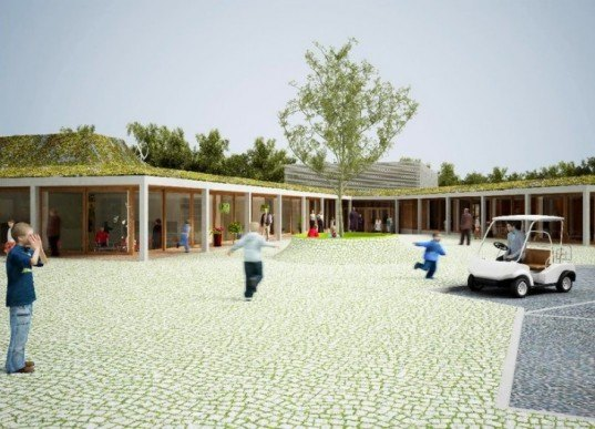 knokke heist school, nl architects, belgium, green roof, eco school, green design