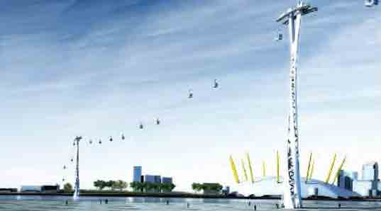 Mace Group, London cable cars, Thames cable cars, green design, eco design, green transportation, alternative transportation
