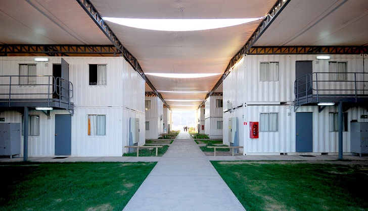 Shipping Container Miner S Hotel In Chilean Desert Capped With Huge