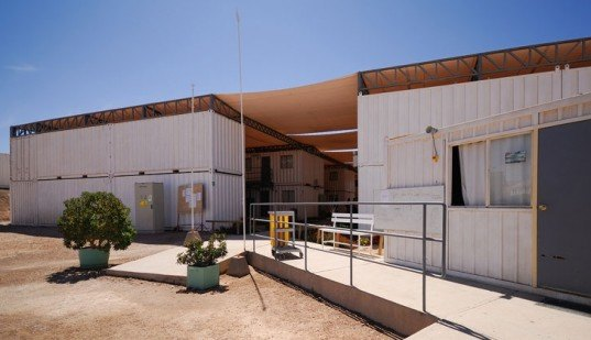 AATA, eco hotel, mining hotel, passive cooling, canvas shade, desert micro climate, Atacama Desert housing, green prefab design, shipping contaner housing, Chilean Mine Housing, Chile green building, shipping container hotel, prefab hotel