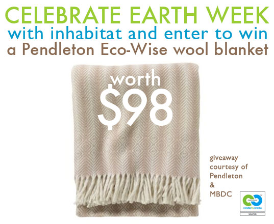 Earth Day, Earth Week, MBDC, Cradle to Cradle certified, Cradle to Cradle philosophy, Cradle to Cradle, William McDonough, giveaways, free stuff, win this, green giveaways, earth day giveaways, earth week giveaways, earth day prizes, earth week prizes, earth month, pendelton, pendelton eco wise wool blanket