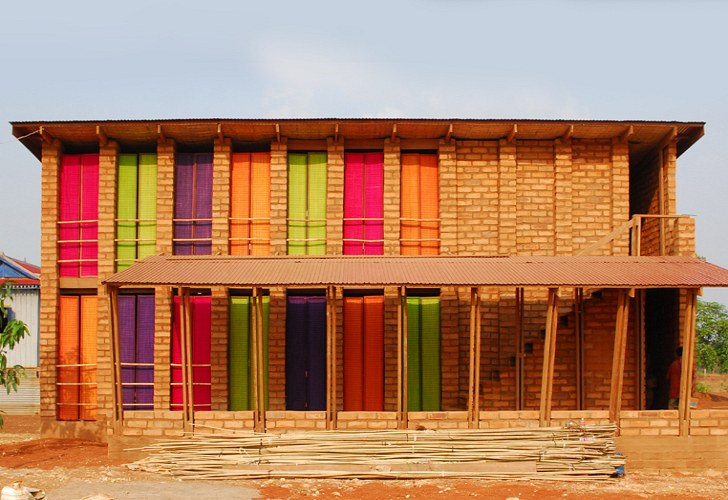 Colorful sra pou vocational school is hand built using for Local builders house plans