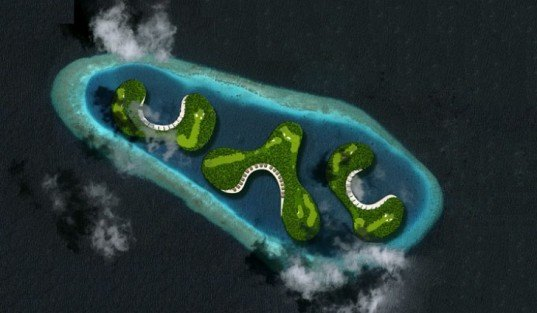 Waterstudio.NL, Floating Golf Course, troon golf, maldives, dutch docklands, golf course, rising sea levels, floating architecture