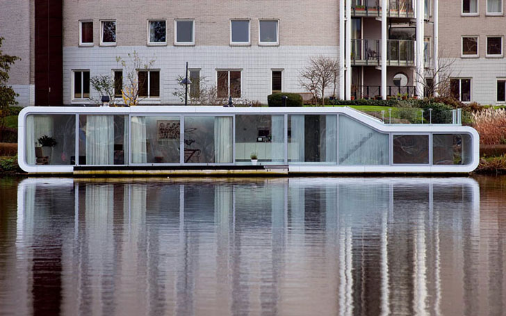 architecture Amsterdam, houseboats, riverboats, water homes, water living, +31 Architects, the Watervilla de Omval, architecture Amstel River, low-profile construction, green architecture, green design