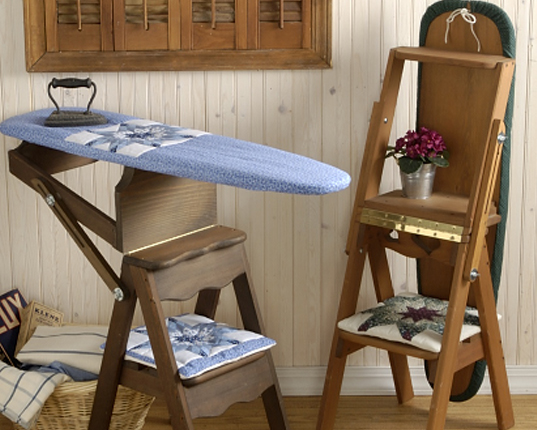 StartSlideshow. > - The Bachelor Chair Is A Step Stool, Seat And Ironing Board All In