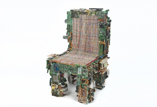 binary circuit chair, green products, eco products, green design, eco design, sustainable design, recycled materials, circuit chair, binary chair, Benjamin Rollins Caldwell, brc designs, chair made of computer parts