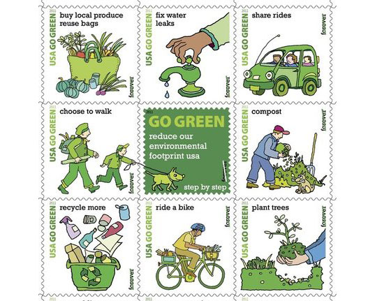 "usps, u.s. postal service, go green stamps, environmental stamps, go green stamp program"" title=""Post Office Green Stamps"