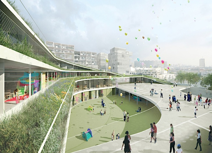 Former Renault factory Turned Into Green-Roofed School, eco-building, green building, green design, eco-design, sustainable design, green roof, ecosystem, Renault, France, Chartier Dalix,green architecture, school, native plants, fauna, living envelope