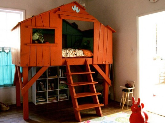 indoor treehouse, treehouse beds, treehouse DIY, build your own treehouse, green furniture, diy, dig designs for kids, treeh