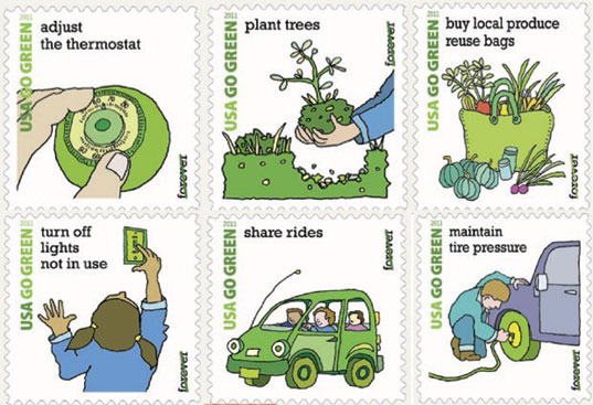 usps, u.s. postal service, go green stamps, environmental stamps, go green stamp program