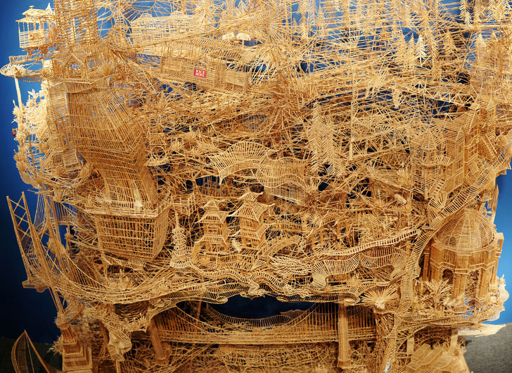 Incredibly Patient Artist Uses 100 000 Toothpicks To Create Amazing San Francisco Sculpture