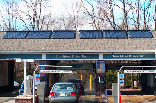 Skyline innovations, greenwich avenue solar car wash, solar power car wash, solar power, stamford solar car wash
