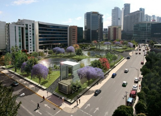 eco-design, green design, sustainable design, sustainable building, underground mall, santa fe, mexico, KMD architects, green roof, daylighting, solar gain, reduced cooling loads, solar electric, energy efficiency